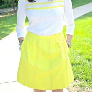 J. Crew Bright Yellow A-Line Knee Skirt Lined 6